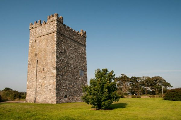 Ballyhealy castle is a refurbished Norman tower house near Kilmore Quay in Wexford.
